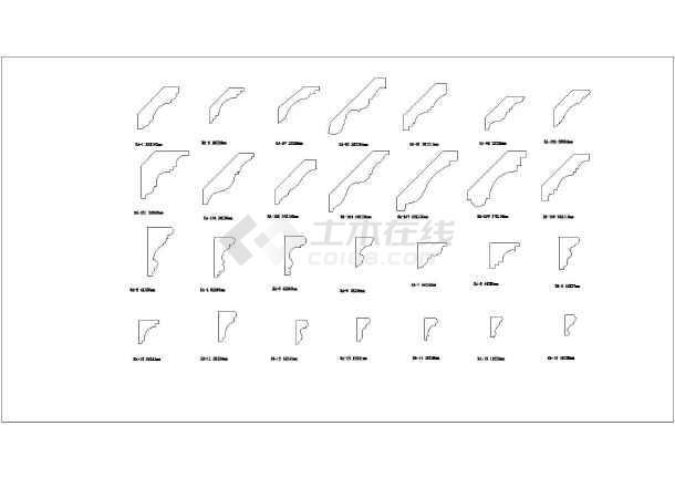CAD版本欧式线角、踢脚线等大样图_cad轴承cad图纸图图片