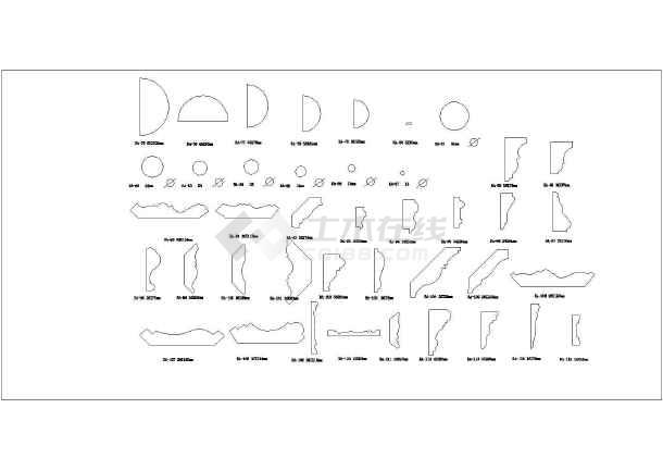 CAD大样欧式线角、踢脚线等图标图_cad版本2008cad图纸图建幅图片