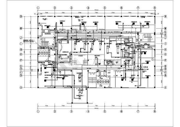 某公安部信息查询中心风机盘管 新风换气机 机房专用空调暖通设计图