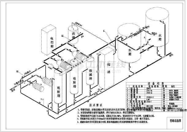 管道直饮水工艺流程图管道连接图基础分布图_cad图纸