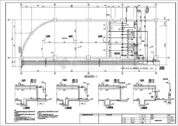 某地消防泵房及消防水池平面图剖面图图片1