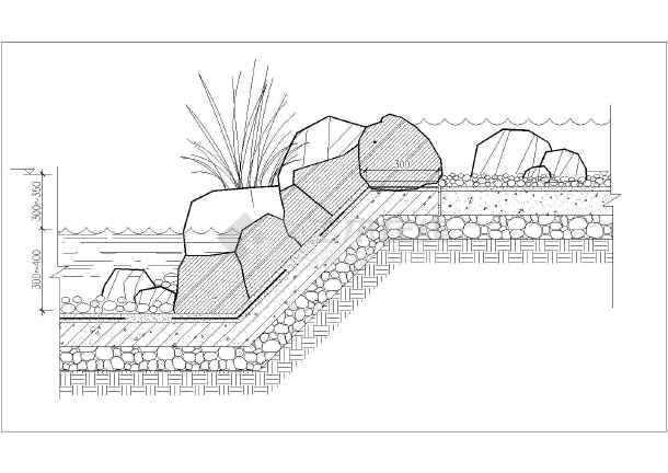 景观圆形水池手绘线稿