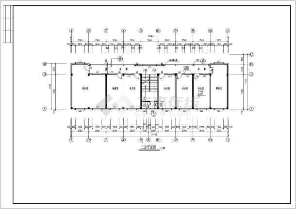 某地4层框架结构办公楼平面图