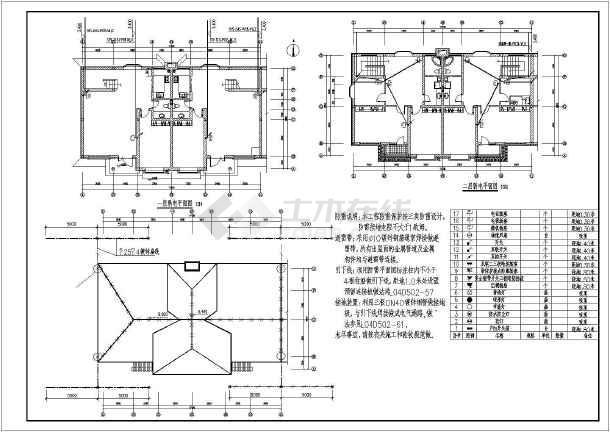 结构新二层联排别墅别墅建筑施工图(含农村、商品豫园宿迁