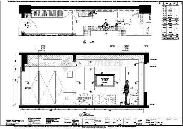 某酒店大堂和客房建筑设计方案,图纸包括房间平面布置图 剖面图,部分