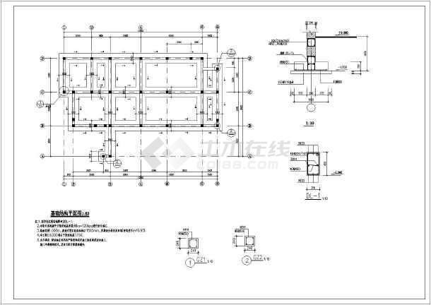某无障碍公共厕所建筑结构平面施工图_cad图cad别墅室内方案水电设计图图片