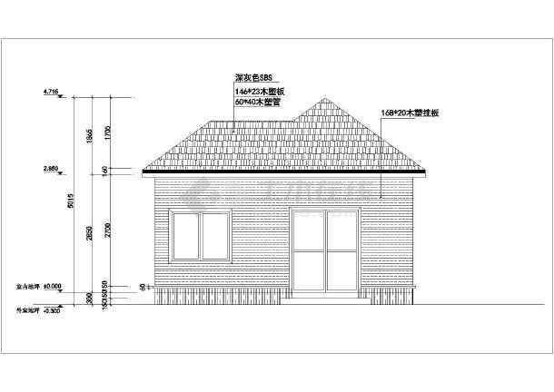 杭州某景区小木屋建筑设计方案,图纸包括:一个四个立面,四个剖面图