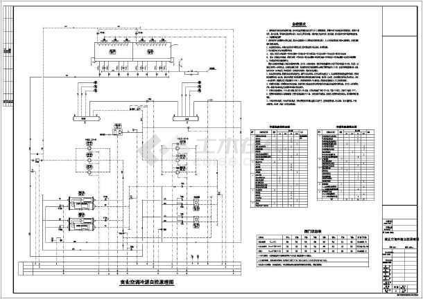 某商业建筑空调冷,热源自控原理图_cad图纸下载-土木