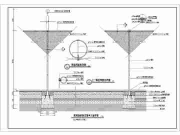 工图带防护网及排水沟做法-标准篮球场图纸