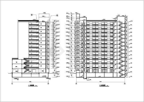 某地13层框架剪力墙结构体育局运动员公寓建筑设计施工图
