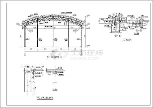 非常详细的某钢结构大棚设计cad施工图(含详细说明)