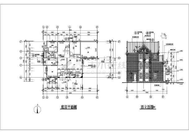 【底层平面图】某地3层框架结构英式小别墅建筑施工图