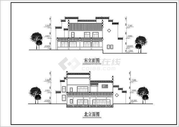 黄山两层砖混结构仿古徽派别墅建筑方案图