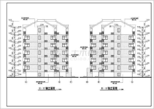 某地区6层异形柱框架结构住宅建筑施工图