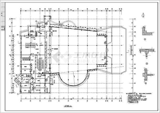 某学校二层食堂综合楼建筑设计方案图纸高清图片