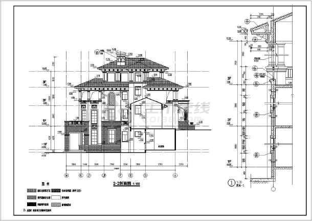框架结构现代欧式别墅建筑施工图,图纸包括各层平面图,立面图,剖面图