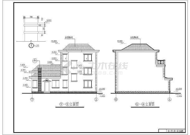 某三层农村房屋建筑设计图(长14.9米 宽11.6米)