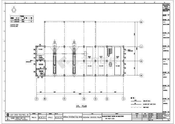 一套多层厂房钢结构设计图纸(全套cad,英文版)