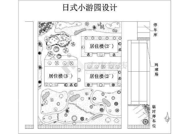 简约日式小游园景观规划设计平面图纸图片