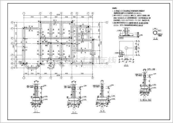 结构施工图  简介:本为一层砌体住宅,外立面及造型均按别墅风格设计