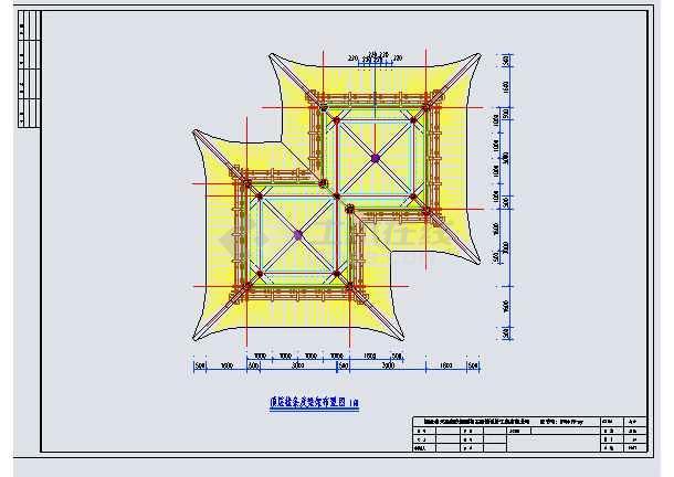 某框架结构二层多重檐仿古方胜亭建筑方案图