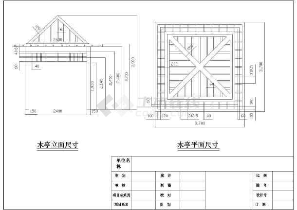 廊架平面及立面图