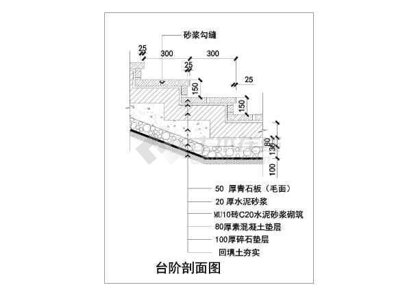 该工程为比较常用的各种不同类型台阶构造详图,内容主要包含台阶剖面