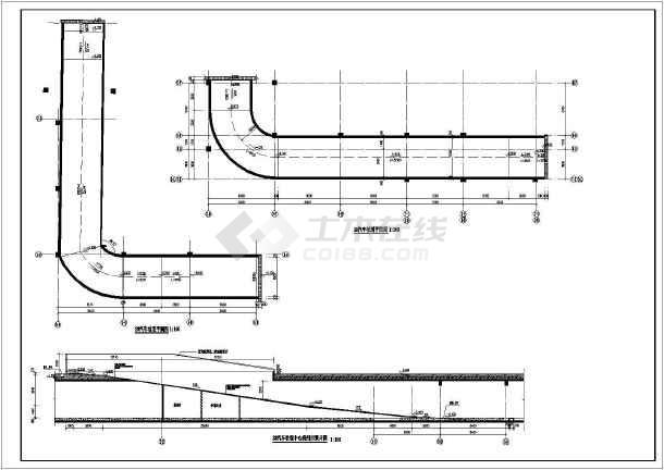 图纸车库裙子消防汽车建筑施工图_cad图纸下坡道漂亮水池的图片