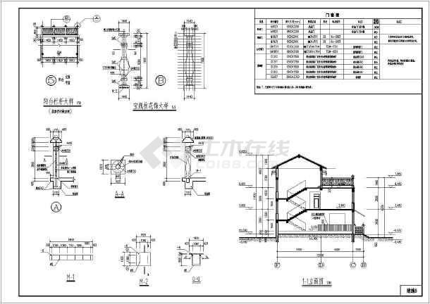 某地局部三层砖混结构别墅建筑设计方案图纸