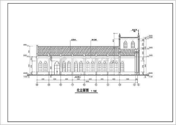 结构小教堂建筑设计施工图,图纸内容主要包含:建筑设计说明,平面图,屋
