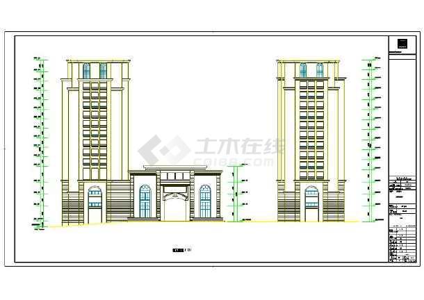 三段式处理风格连廊式双塔办公楼建筑施工图(知名设计