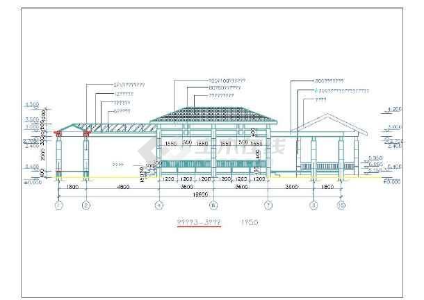 某园林古建长廊设计建筑cad施工图