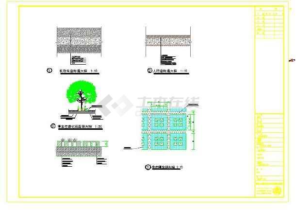 机动车道,人行道,停车位绿化隔离带,生态停车场cad详图素材图片1