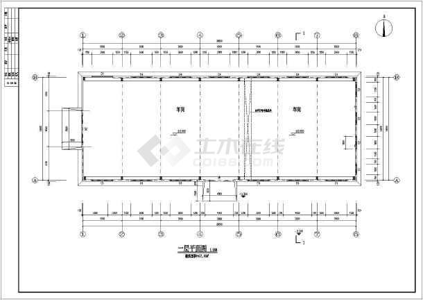 某地双坡14m单跨厂房钢架门式图纸单层施工图钢结构轻型视频解说图片