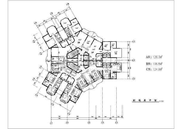 建筑设计常用多种高层住宅户型平面图大全图片
