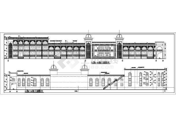 维吾尔民族式多层商住楼建筑设计施工图