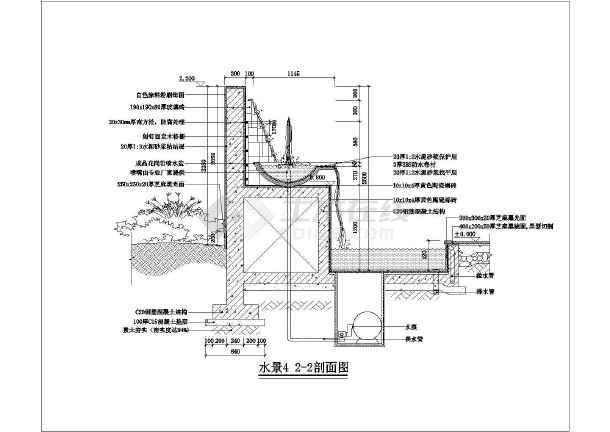 某带花池台阶式水景墙全套施工图纸