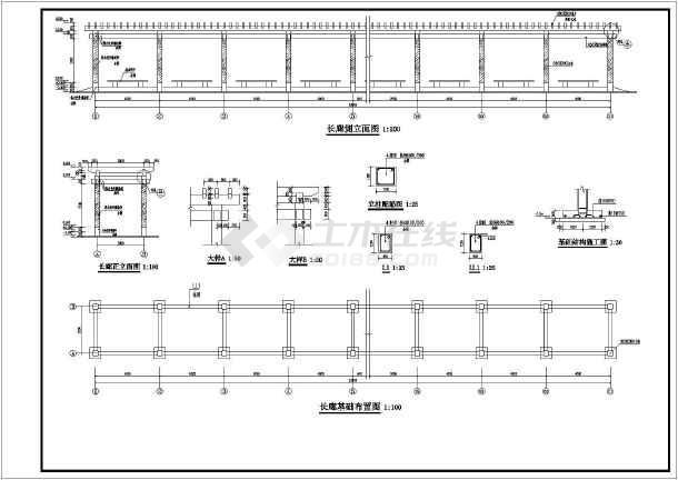 某地六角木结构仿古观光亭及观光长廊施工图