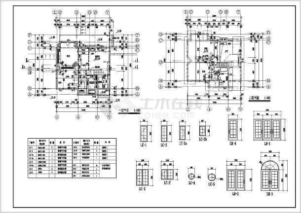 某地二层木结构别墅建筑设计施工图