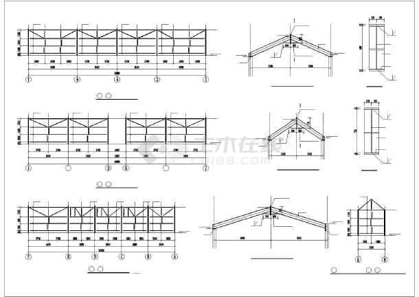 图纸包括基础平面图,墙面结构布置图,屋面檩条,拉条,隅撑布置图.