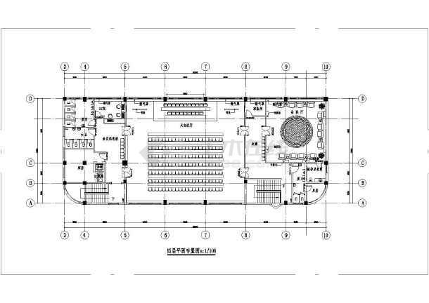 高校机关单位及大企业四层食堂装修施工cad布置图