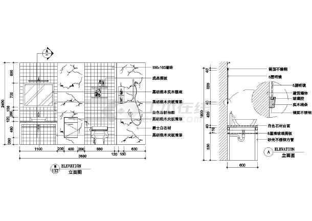 洗手盆比例图_cad尺寸下载cad1:50的大样图纸图片