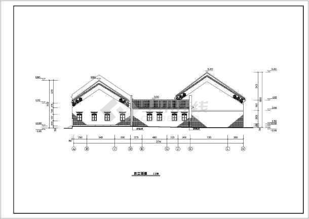 岭南某地单层框架结构仿古建祠堂建筑方案图图片2