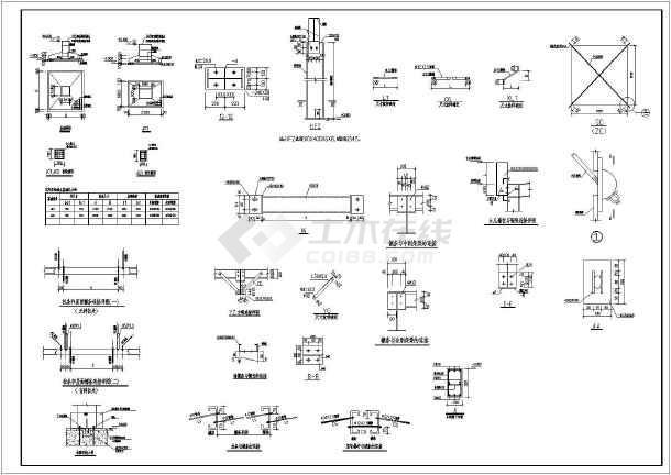 四套轻钢厂房结构图,四种情况(带吊车,不带吊车,局部高起,非高起)