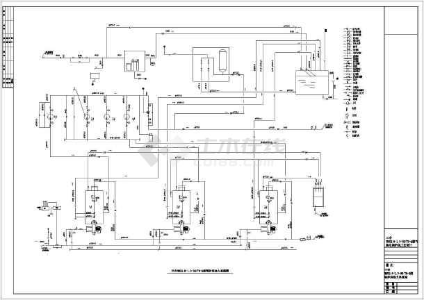 三台WNS2.8--1.0--95/70--Q燃气热水锅炉房工艺设计图-图1
