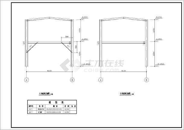 层钢结构图纸楼售楼处v图纸施工图_cad材料下枫框架月图纸阁图片