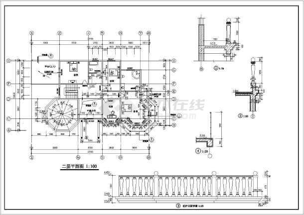 某二层欧式别墅建筑设计图(长23.15米 宽12.869米)