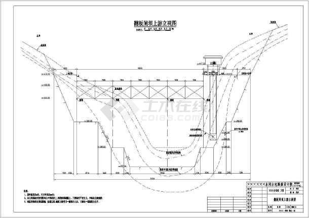翻板闸坝典型剖面图,非溢流坝典型剖面图,翻板闸门结构图,溢流坝体