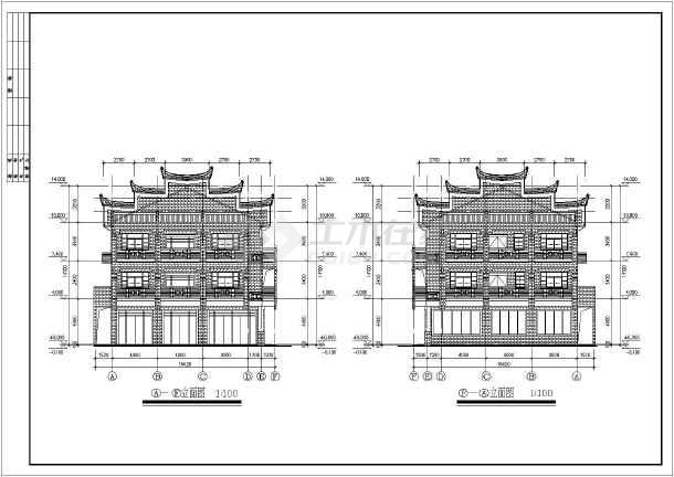 图纸 建筑图纸 商业建筑 会所设计 某地3层框架结构小型游客服务中心图片