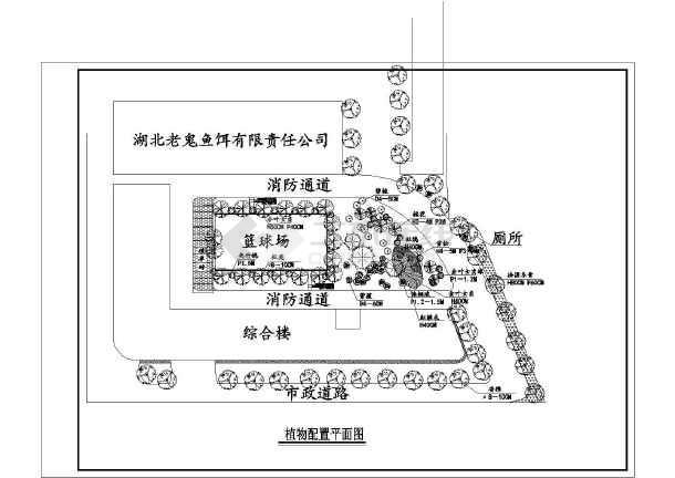 福建某院内篮球场塑胶地面施工图详图
